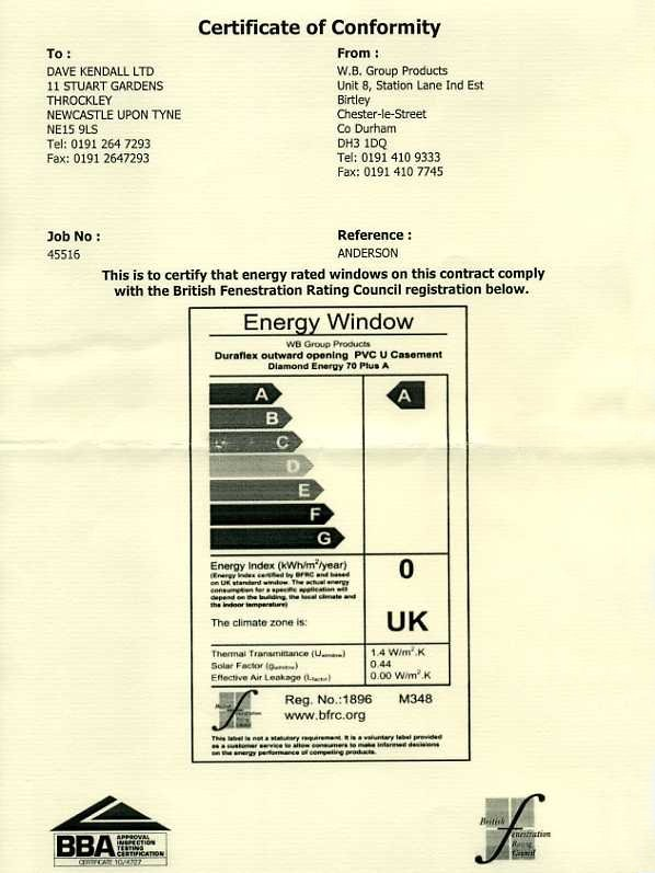 Double glazing certificate of conformity from dave kendall of conformity certificate yadclub Gallery