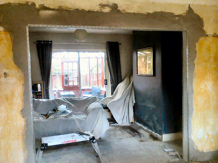 Removal of a living room wall, property restorations Newcastle