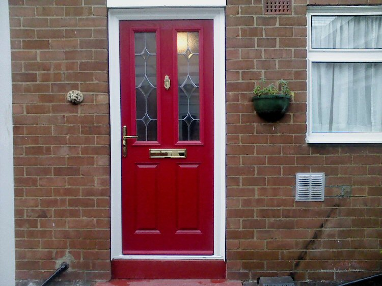 Red coloured composite doors Newcastle