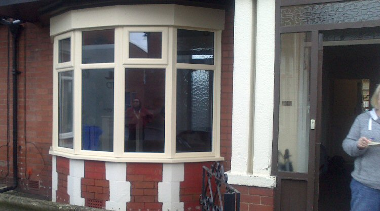 expertly installed cream coloured bay window installers Blyth